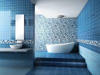 The blue color in the interior of a bathroom