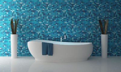 Blue bathroom with white bathroom