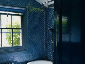 Dark blue bathroom