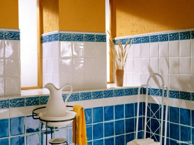 The orange- blue bathroom