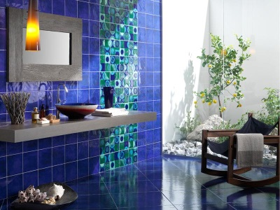 Blue and turquoise bathroom