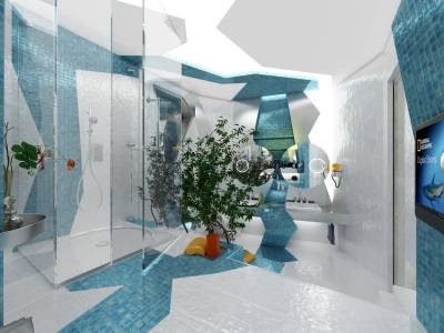 The original blue- white bathroom