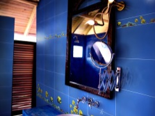 Blue bathroom with laminate