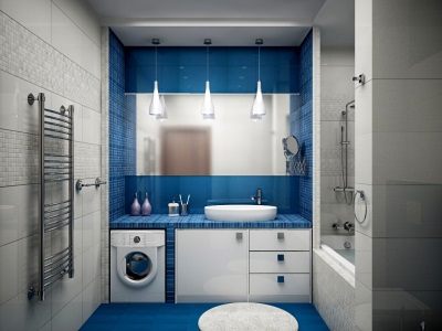 Blue bathroom with white sanitary ware