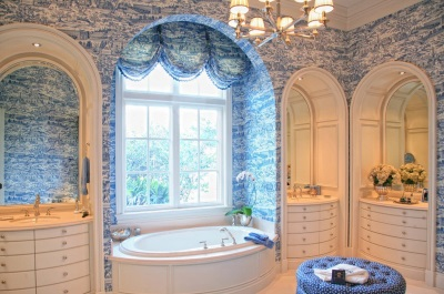 Blue and light blue , white bathroom