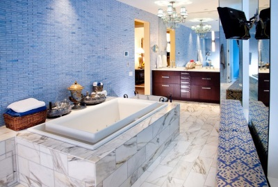 The original wall decoration in blue bathtub