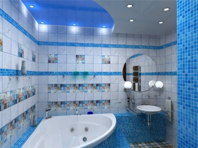 The blue bathroom with light blue