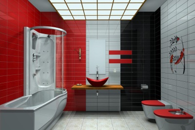 The black -red- white bathroom