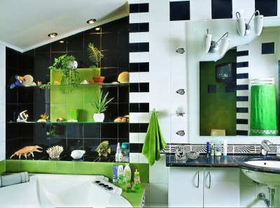 Black-and- white-green bathroom