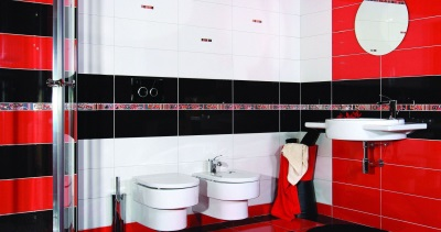 Black-and- white- red bathroom