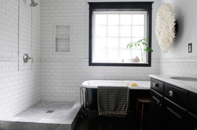 White tub with black surface
