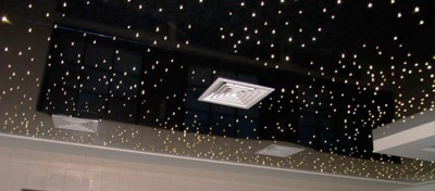 ceiling with the effect of a starry sky in the bathroom