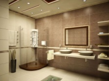 Bathroom in brown and beige colors
