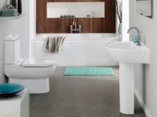 White and brown bathroom