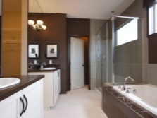 Bathroom in white and brown colors