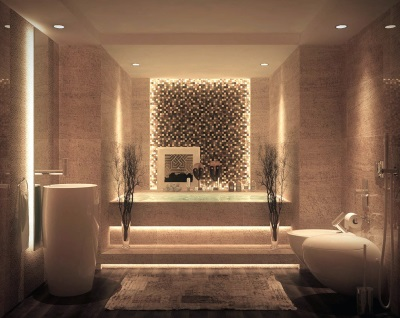 Brown bathroom illuminated in modern style