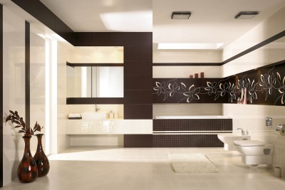 Brown tiles , combined with beige