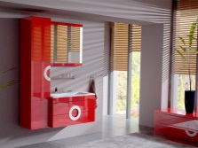 White bathtub with red furniture