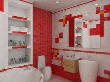 red- white bathroom