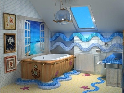 Blue and white nautical theme bath
