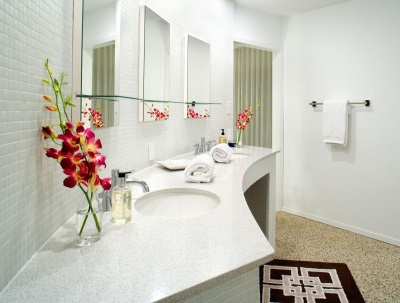 White bathroom in bright colors