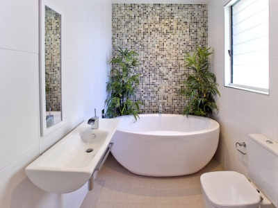 Mosaic in white bathroom