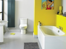 Yellow and blue bathroom