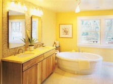 Yellow and white bathroom
