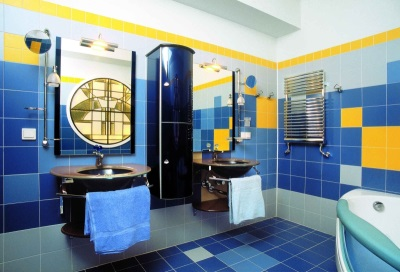 Yellow- blue bathroom