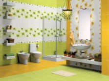 Yellow- green with white bathroom