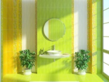 Yellow- green bathroom