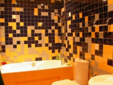 Yellow-black bathroom