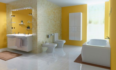 Painted walls in yellow bath