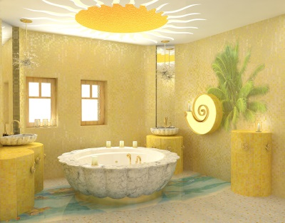 Yellow bathroom with the sun on the ceiling