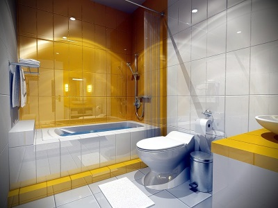Yellow bathroom lighting