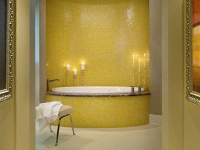Yellow copper bathroom