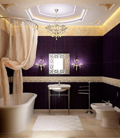 Purple bathroom in classic style