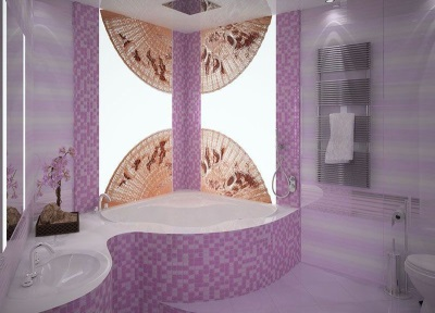 Lilac bathroom with Japanese motifs