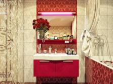Red bathroom with beige