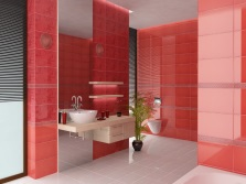 White- red bathroom