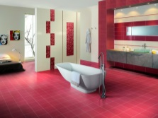 Beige and red bathroom