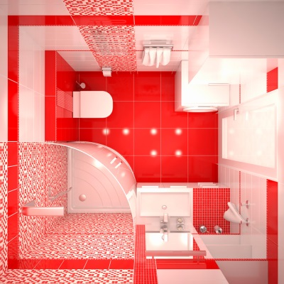 Red small bathroom