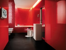The red bathroom with white sanitary ware