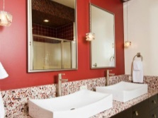 Red and white bathroom sink