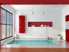 Red furniture in bathroom