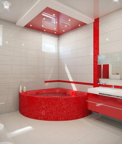 Red bath in the bathroom