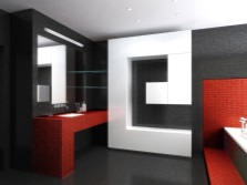 Bathroom: black red and white colors