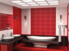 Red bathroom in combination with white and black