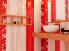 White tile with red accents