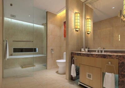 Combined bathroom - ceramic tiles wall decoration